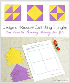Geometry for Kids: Quilt Activity Using Triangles (Free Printable) Geometry Activity for Kids: Design a four-square quilt pattern using triangles (Free Printable)~ Math Classroom, Kindergarten Math, Teaching Math, Maths, Geometry Activities, Activities For Kids, Kindness Activities, Bible Activities, Math Art