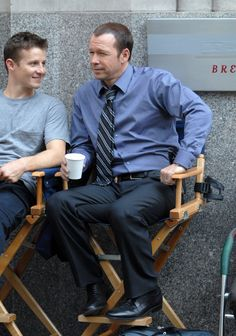LOVE this photo - Will Estes & Donnie Wahlberg on Blue Bloods set
