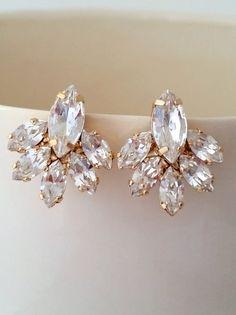Clear crystal stud earrings | Crystal Bridal earrings by EldorTinaJewelry | http://etsy.me/1SMlgGq
