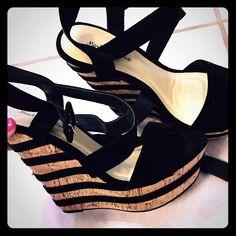 Black velvet striped platforms Black velvet striped platforms worn once for about an hour Shoes
