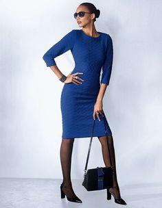 BNWT Madeleine Blue Heavy Sheath Dress - Size 14 Office/Winter Wedding/Occasion