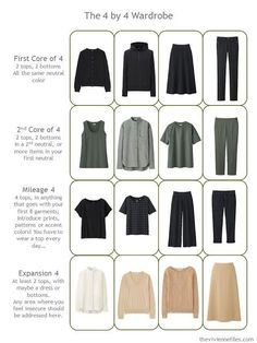 A Four by Four Wardrobe in black, olive and camel