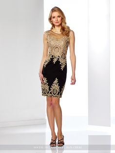 Sleeveless novelty crepe above-the-knee sheath, illusion bateau neckline over hand-beaded embroidered sweetheart bodice with dropped waist, illusion back with matching embroidery, matching embroidered lace at hem. Also available without hem lace as style 116855A. Sizes:4 – 20 Colors:Black/Gold, Ivory/Gold, Aqua/Gold