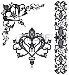 Illustration of Pattern elements in vintage style vector art, clipart and stock vectors. Arabesque, Cross Stitch Embroidery, Embroidery Patterns, Cool Stencils, Stencil Designs, Painting & Drawing, Vintage Fashion, Vintage Style, Vector Art