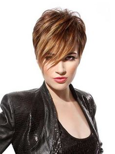 Short Hair Color 2017 Toffee Pixie with Side Swept Bangs