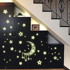 GenialES 38estrallas Sticker mural lumineux de plafond fenêtre phosphorescente et brillants dans la nuit (2x feuilles A4) Luna y Estrellas