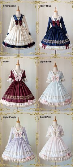 IchigoMiko -Ballad By The River Seine- Sailor Style Lolita OP Dress,Lolita Dresses, Style Lolita, Mode Lolita, Gothic Lolita, Pretty Outfits, Pretty Dresses, Beautiful Dresses, Cute Outfits, Emo Outfits, Kawaii Dress