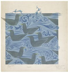 Sea Gulls | C.F.A. Voysey | V&A Search the Collections c.1892 Textile Design