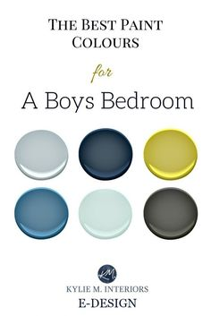 The best paint colour and accent ideas for a boys or teenager bedroom. Benjamin Moore. Kylie M Interiors E-design