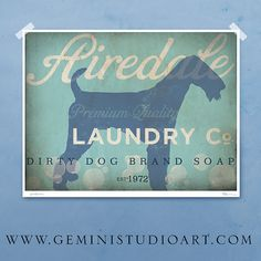 Airedale laundry company dog laundry room artwork giclee archival signed artists print by Stephen Fowler PIck a Size on Etsy, $25.00