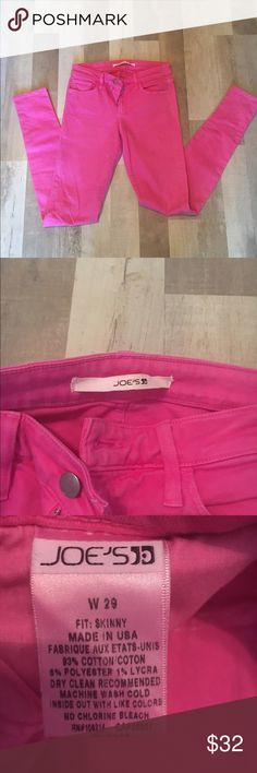Jor's Jeans skinny hot pink sz 29 I purchased these from Nordstrom Rack years back. Worn a handful of times. Good shape just the thread on the pockets some is white vs. pink ( see photos) and a little jean color between the back pockets but may wash off just from sitting with my other darker jeans. Joe's Jeans Jeans Skinny
