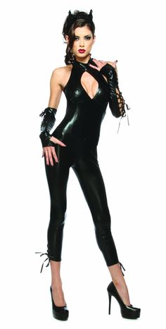 0a5a160b0323 Halloween Costumes Make-up - Lip Service Sexy Black Panther Catsuit Costume  Large Hair Gel