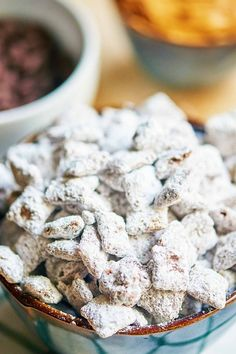 This is the best puppy chow recipe Why More chocolate more peanut butter more powdered sugar This childhood classic aka muddy buddies just got better. Plus it uses the WHOLE box of cereal and the WHOLE bag of chocolate chips so less measuring required Best Puppy Chow Recipe, Puppy Chow Recipes, Chex Mix Recipes, Fudge Recipes, Yummy Treats, Delicious Desserts, Sweet Treats, Yummy Food, Bon Appetit