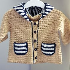 Crochet PATTERN (pdf file) - Sailor Hooded Cardigan