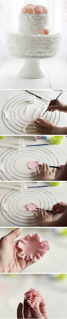 ruffle cake how-to.  looks like an easy tutorial.  Ummm…satin ice… we have a date!