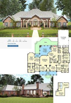 House plan number - a beautiful 4 bedroom, 4 bathroom home. Dream Home Design, Home Design Plans, My Dream Home, House Design, Dream Homes, Country House Plans, Dream House Plans, House Floor Plans, 6 Bedroom House Plans
