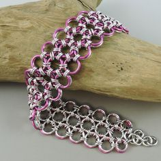 Reversible Chainmaille Bracelet, 3 Row Japanese Lace Chainmail Bracelet, Chain Mail Jewelry, Pink Bracelet, Pink Chainmaille by HCJewelrybyRose on Etsy