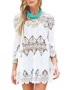 """Yonala Womens Lace Floral Hollow Out Beachwear Bikini Cover Up Dress, White, One size. Beachwear Cover Ups:One Size(US Size XS-M) Fits Most. Beautiful Crocheted Pattern,Lace Edges on the bottom and the ends of the Sleeves. Best Bikini Cover-ups for Your Summer Vacation.Ideal for Beach,Resorts,Pool,Vacation and Cruising. Material:Chiffon+Lace/Cotton+Lace,Fashion and Sexy Design Beach Cover Up. """"YONALA"""" has Registered US Trademark,Serial Number is 86717624.These items are ONLY provided by…"""