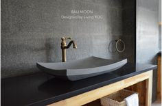 Concrete Vessel Sinks - The majority of us are aware regarding the many types of their usefulness as well as sinks. But ma Bathroom Sink Design, Small Bathroom Renovations, Stone Bathroom, Vessel Sink Bathroom, Bathroom Ideas, Stone Basin, Basalt Stone, Modern Sink, Marble Stones