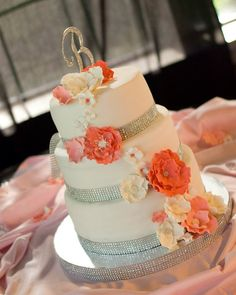 Image result for coral and gray wedding cake with cupcakes