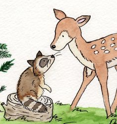Woodland Nursery Art- Little Fawn and Raccoon 5X7 Archival PRINT for Baby and Children. $9.00, via Etsy.