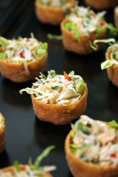 crab salad croustades Asian crab salad croustades: No need to wreck out a full spring roll! Make little bite sized wonton cups.Asian crab salad croustades: No need to wreck out a full spring roll! Make little bite sized wonton cups. Bite Size Appetizers, Finger Food Appetizers, Yummy Appetizers, Appetizers For Party, Finger Foods, Appetizer Recipes, Appetizer Ideas, Asian Appetizers, Canapes Ideas