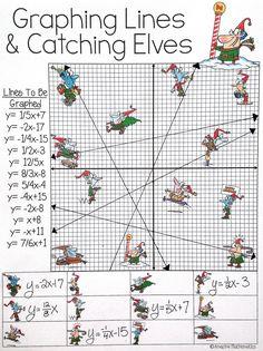 Graphing Slope Intercept Form Lines - Christmas Algebra ...