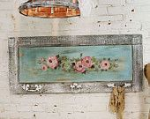 Painted Cottage Chic Shabby Hand Made Rose Painting