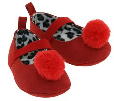 L'Amour Infant Girls D330 Red Pom Pom Mary Janes