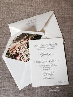 Beautiful Deckled Edge Paper And A Custom Liner Set The Stage For An Old  World,. Columbus OhioThe StageOld WorldElegant WeddingWedding Invitations