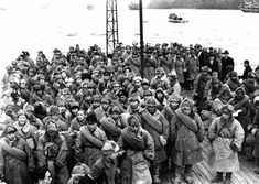 "miyawakihouse: "" Japanese soldiers returning from Siberia, where they were imprisoned after World War II, wait to disembark from a ship at Maizuru, Kyoto Prefecture, Japan in 1946. By the end of World..."