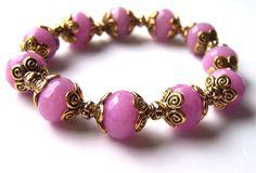 Pink Jade Bracelet, Gemstone Bracelet with Gold Beads, Stretch Bracelet £19.50