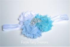 Elsa Frozen Disney Princess Inspired Headband - Triple Shabby Chic Flower with Tiara Crown (Mulan, Jasmine, Merida, Pocahontas, Sofia, Tiana or Elsa) by Purple Fairy Creations