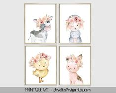 This Baby Farm Animal Prints set 4 Floral Farmhouse Girl Nursery Wall Decor Barnyard Animal Watercolor Art Portrait Baby Cow Sheep Pig Chick is just one of the custom, handmade pieces you'll find in our wall décor shops. Farm Animal Nursery, Baby Farm Animals, Barnyard Animals, Nursery Wall Decor, Nursery Prints, Girl Nursery, Nursery Rugs, Floral Nursery, Themed Nursery