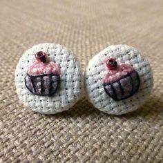 Cupcake cross stitch earrings!! So sweet!