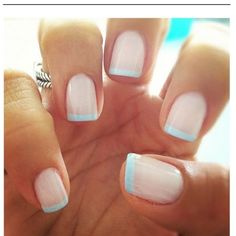 Light blue French tips! Love it