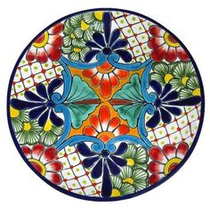 Charming, decorative Talavera Plate, handmade and painted in bright colors by the master artisans at Gutierrez in Central Mexico. It has two holes in the back for easy hanging against a wall. Pottery Plates, Glazes For Pottery, Ceramic Pottery, Pottery Painting, Ceramic Painting, Ceramic Art, Kintsugi, Tile Art, Mosaic Art