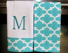 Monogram Kitchen Towels or Hand Towels in Coastal by DesignsByThem