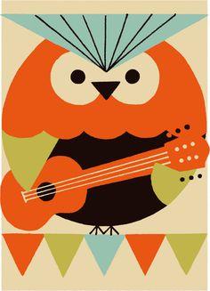 owl with guitar by Shunsuke Satake