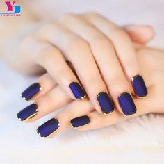 Blue Matte Metal Manicure Full Cover False Nails 24pcs Short Tips
