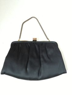 1960s black satin hand bag clutch purse bag purse by RightBankGirl, $42.12