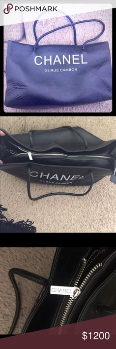 This is a Chanel Tote bag . 31, RUE CAMBON ❤️big This is a CHANEL 31 RUE CAMBON , Made in France . Big Tote . It has three compartments inside. Middle compartment zippers. ❤️❤️😎 . Also has another side zipper . Also all the zipper say Chanel . I think this was a Promo bag . From Chanel . Love it just to big .. really nice . Perfect inside and out .. CHANEL Bags Totes