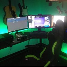 @classixig with his sweet triple monitor setup. I do suggest some better cable management just to get rid of some of the small wires. Also get a headphone hanger so your astro's are not sitting on the monitor. Love the green though. 8/10. What do you guys think? Comment below! Check out my YouTube channel!! Link in the description Wanna play some steam games with me? Add me!! Steam name: cleansetups #l4l #gaming #pc #pcmasterrace #gamingsetup #ff #xbox #playstation #csgo #consolegaming…