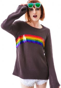Wildfox Couture Antique #Rainbow Favorite Sweater