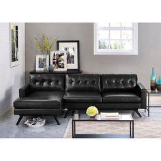 Shelton Vintage Black Left-Arm Sectional Sofa  sc 1 st  Pinterest : burke sectional - Sectionals, Sofas & Couches