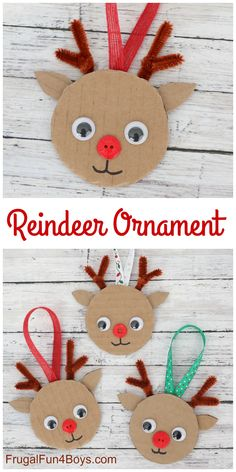 Cardboard Reindeer Ornament - Christmas Craft for Kids : Such an adorable reindeer ornament to make! Cardboard, pipe cleaners, ribbon, and a couple other simple supplies. Fun Christmas craft for kids! Preschool Christmas, Christmas Activities, Christmas Crafts For Kids, Preschool Crafts, Kids Christmas, Holiday Crafts, Christmas Decorations, Toddler Crafts, Craft Kids