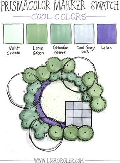 In the last few weeks I've received several questions about how to choose colors when rendering a landscape plan in marker. In response to your excellent inquiries I've shared my own guidelines and steps below, plus created three marker color combinati Landscape Sketch, Landscape Designs, Landscape Plans, Garden Landscape Design, Landscape Paintings, Landscape Drawings, Landscaping Supplies, Landscaping Tips, Modern Landscaping