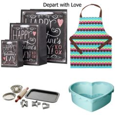 Create fun Valentine's Day goodie bags using a colorful apron, baking kit and heart shape mold from IKEA!
