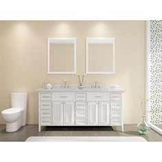 "Ariel Kensington 73"" Double Sink Vanity Set with Carrera White Marble Countertop - White"