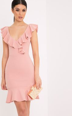 Rose Frill Detail Bodycon DressFeaturing stretchy crepe fabric, funky frill neck and hem details . Casual Day Dresses, Cute Dresses, Dress Outfits, Short Dresses, Fashion Outfits, Formal Dresses, Dresses Dresses, Party Dresses, Frill Dress